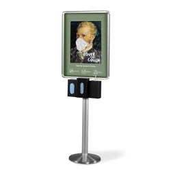"Heavy Duty Infection Control Station with 3 Dispensers and 22"" x 28"" Duble-Sided Poster Frame"