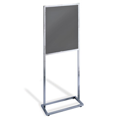 "Square Tube Poster Stand, Chrome, 22"" x 28"""