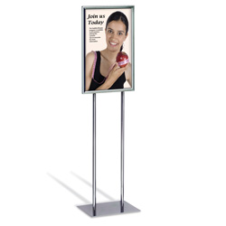 "Economy Double-Stem Poster Stand, Chrome, 14"" x 22"""