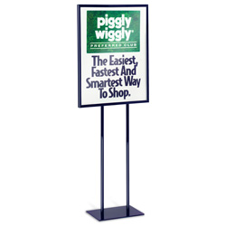 "Economy Double-Stem Poster Stand, Black, 22"" x 28"""