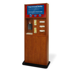 Preventionist Standard Five-In-One Infection Control Kiosk, Cherry Finish