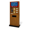 Preventionist Deluxe Six-In-One Infection Control Kiosk, Blonde Maple Finish