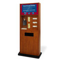 Preventionist Deluxe Six-In-One Infection Control Kiosk, Cherry Finish