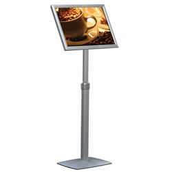 "11"" x 17"" Multi-Positional Pedestal Sign Stand, Silver"