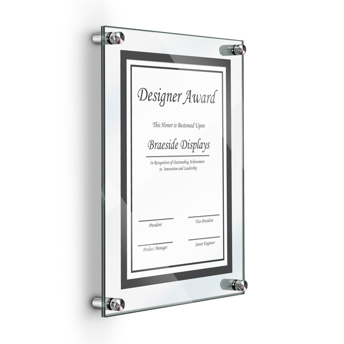 deluxe acrylic standoff wall frame 8 1 2 x 11 clear braeside displays. Black Bedroom Furniture Sets. Home Design Ideas