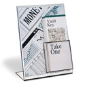 "Break-Resistant Slant Back Sign/Brochure Holder Combo, 8-1/2"" x 11"""