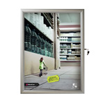 "22"" x 28"" Slim Profile, Swing Open Poster Frame, Silver, Locking, Indoor-Outdoor"
