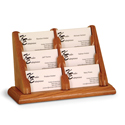 6 Pocket Oak Business Card Holder
